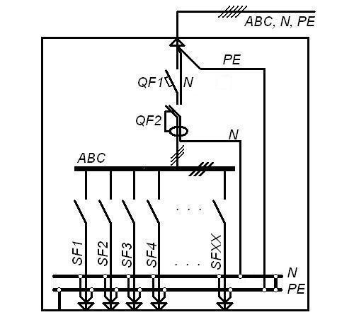Однолинейная электрическая схема распределительного щита